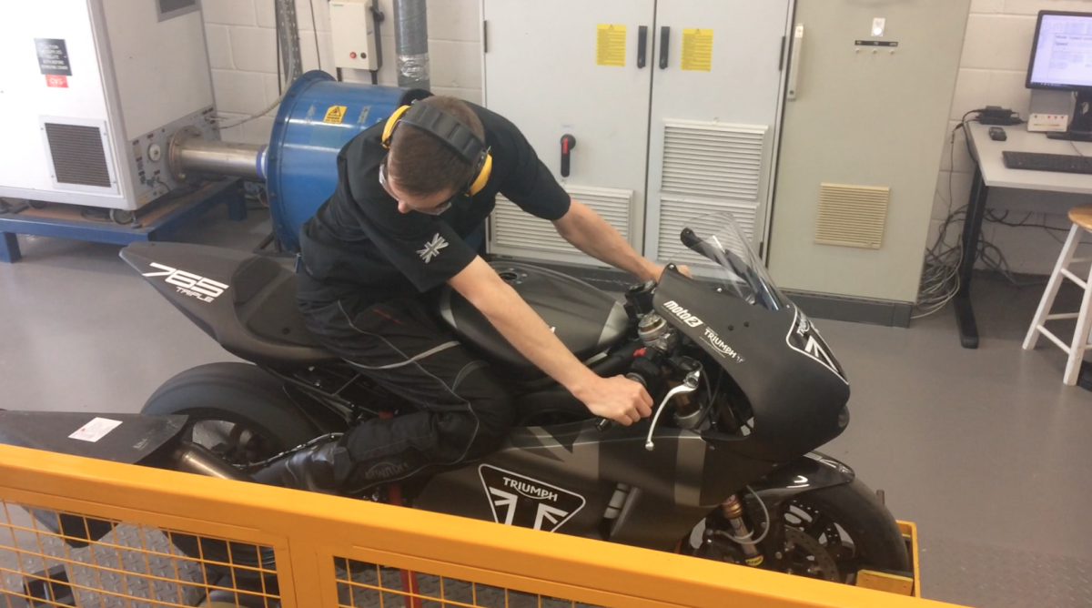 Triumph Moto2 bike on dyno