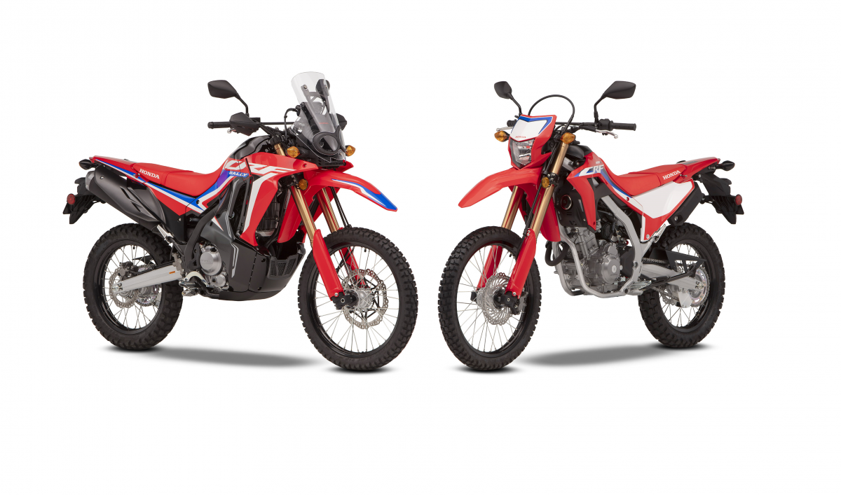 the Honda CRF300L and CRF300 Rally in a studio