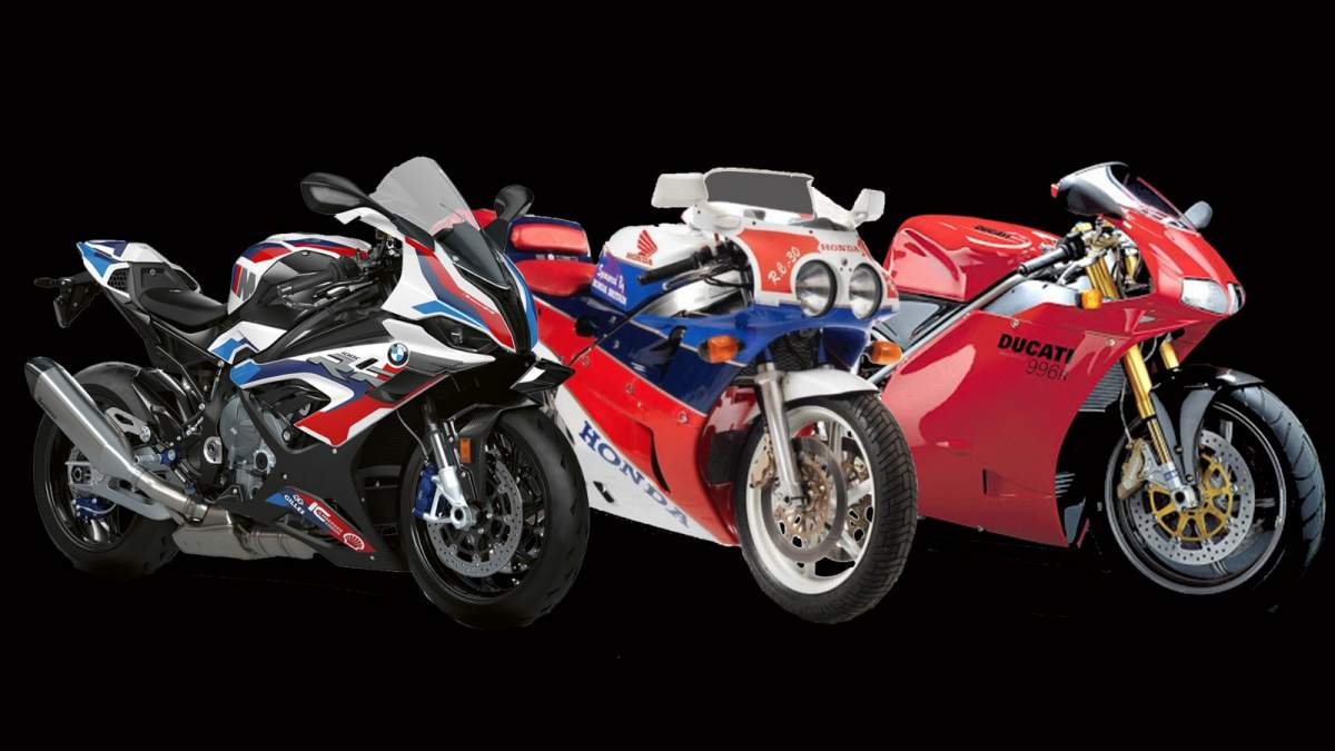 BMW M 1000 RR, Ducati 916 SP, Honda RC30