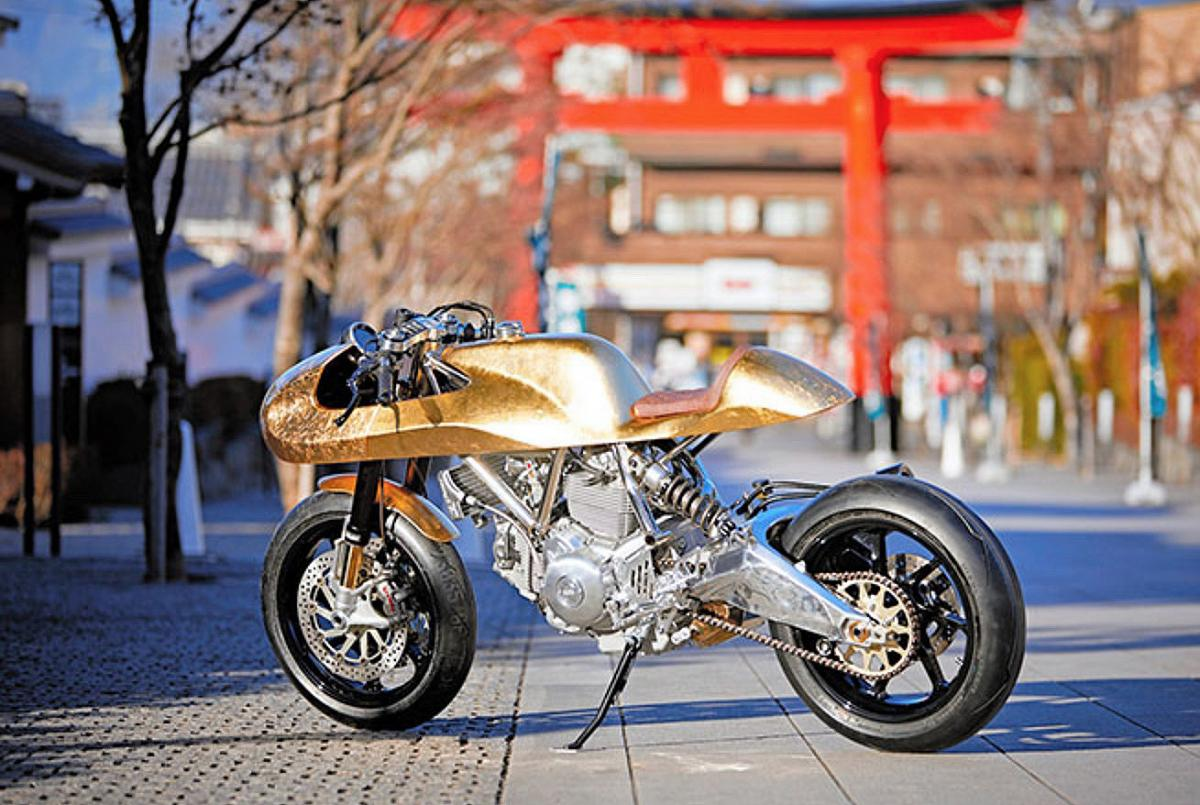 gold leaf ducati scramber custom rumble