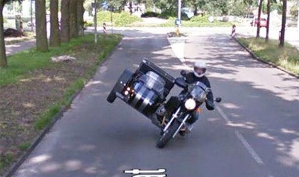 Sidecar stunt caught on Google Maps Street View | Visordown on caught on bing street view, captured on google street view, murder on google street view, dead body on google street view, funny google street view,