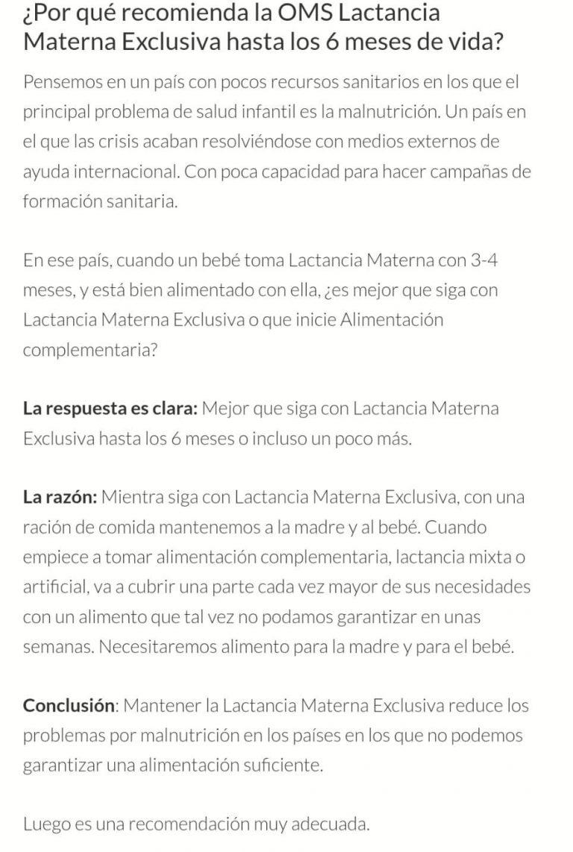 "OMS: ""Lactancia Materna Exclusiva durante los 6 primeros meses de ..."