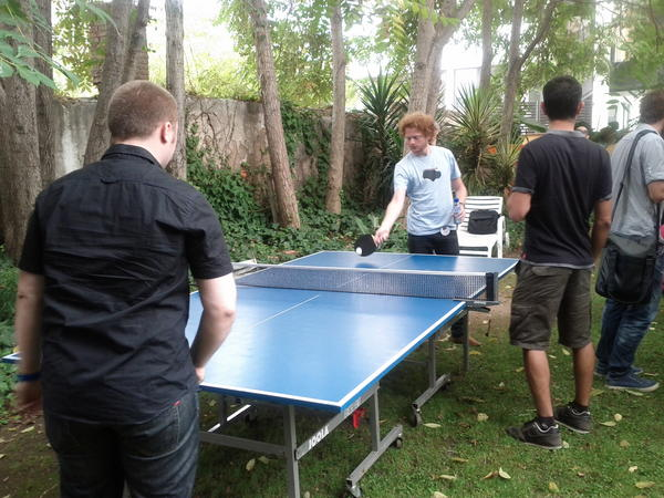 People played ping-pong in the Barcelona Facebook World Hack
