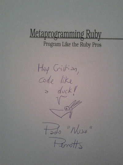 Metaprogramming Ruby signed by its author