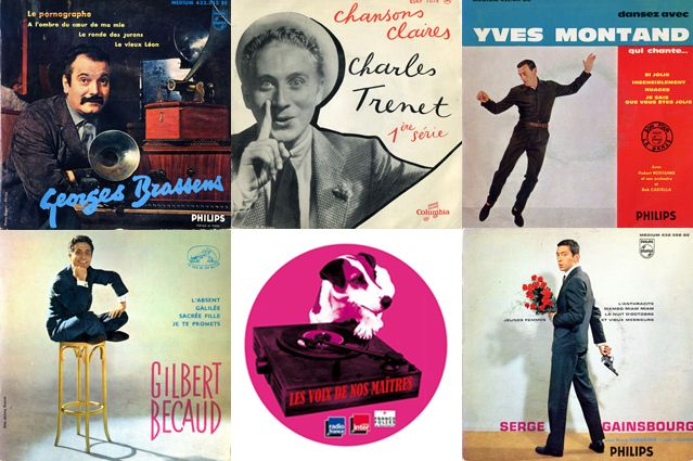 Pochettes : Georges Brassens, Charles Trenet, Yves Montand, Gilbert Bécaud, logo et Serge Gainsbourg
