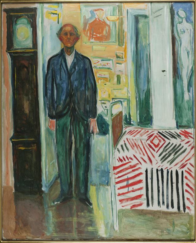 Selvportrett. Mellom klokken og sengen [Autoportrait. Entre l'horloge et le lit], 1940-43 Huile sur toile, 149,5 x 120,5 cm