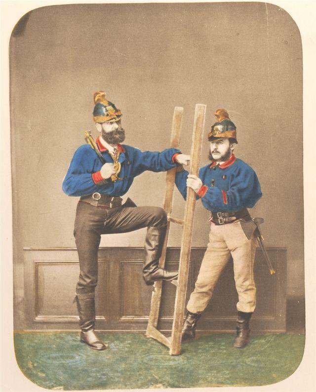 Pompiers en studio époque Second Empire