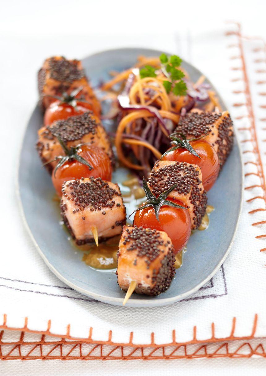 recette-5231-Brochettes de saumon et tomates aux graines de moutarde