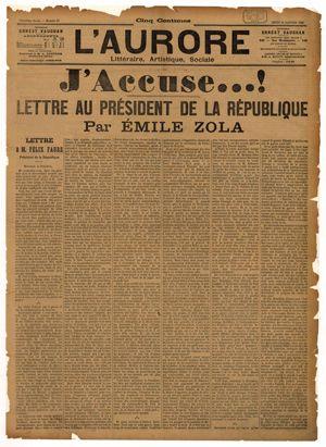 L'Aurore, 13 janvier 1898, article d'Emile Zola : « J'accuse …! »