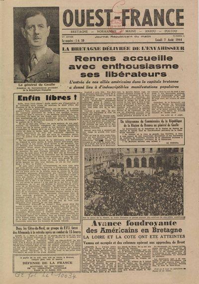 Une de Ouest-France, 7 août 1944,