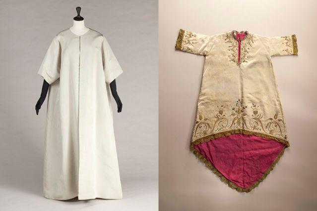 """Manteau du soir """"Papillon"""", 1968. Faille de soie vert d'eau / Rode de Vierge, c. 1750-1800. Satin de soie crème brodé de soie"""