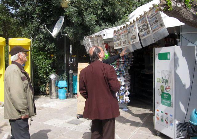 kiosque dans une rue d'Athènes