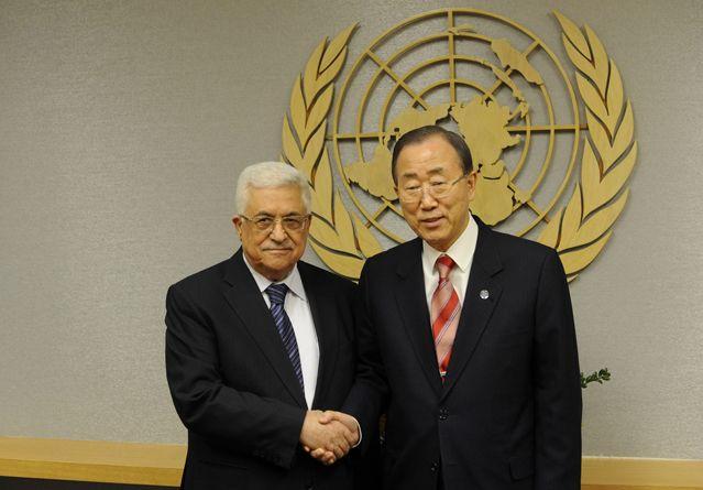 Mahmoud Abbas et Ban Ki-Moon, le 28 novembre 2012