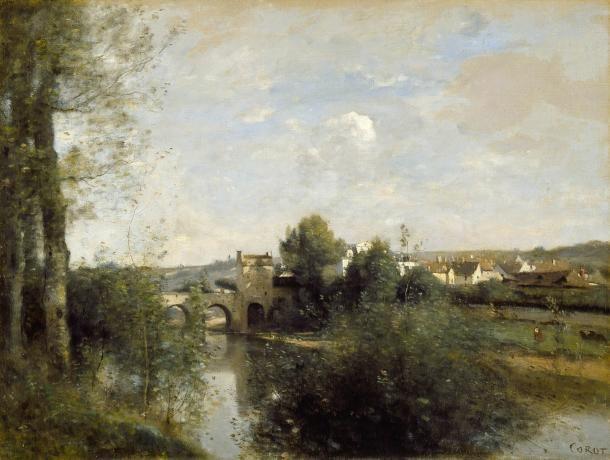 Seine avec le vieux pont à Limay - Corot