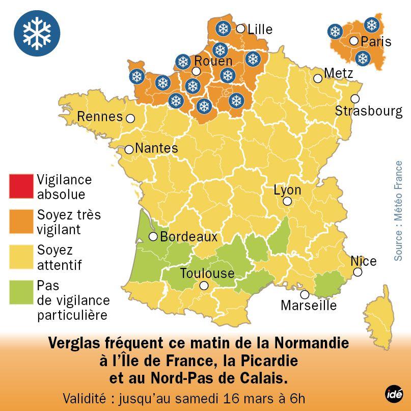 Alerte Météo France Neige Verglas - Vendredi 15 mars - 6h - IDÉ
