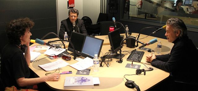 De gauche à droite : Patrick Robert et Thierry Secretan en studio