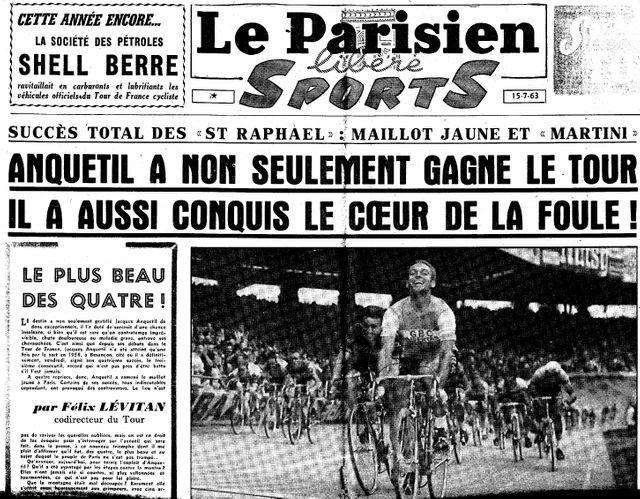 Anquetil vainqueur du tour de France, 1963