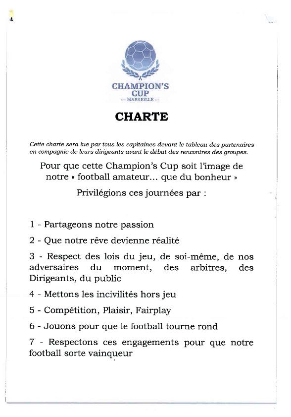 Champion's Cup 2013 - Charte - FB Provence - Champion's Cup Marseille