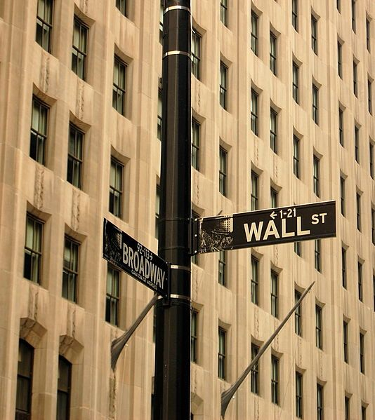 The corner of Wall Street and Broadway
