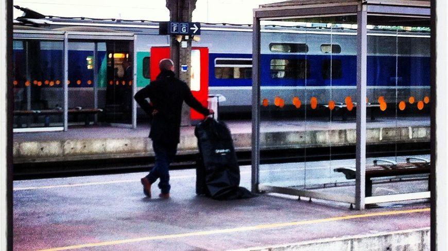 Un voyageur attendant le train en gare de Valence, le 6 novembre 2013. / Ne changez pas mes titres SVP
