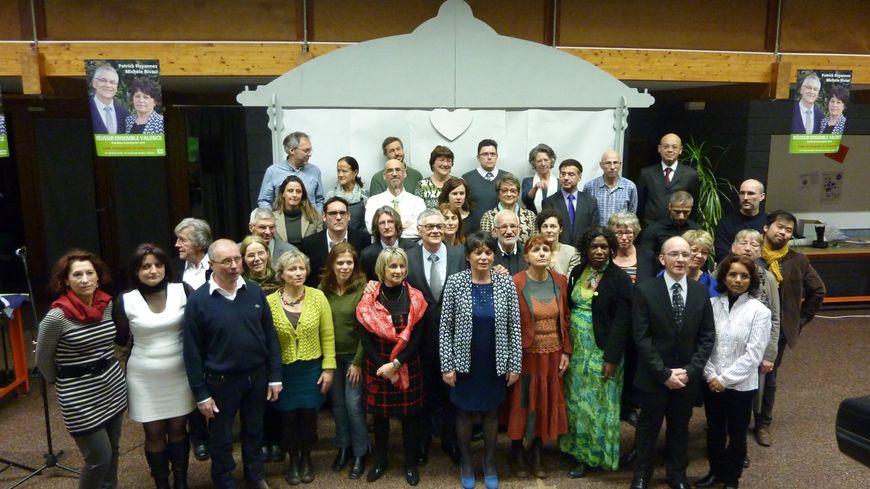 La liste Verts et citoyens de Patrick Royannez et Michèle Rivasi pour les municipales à Valence, le 31 janvier 2014.