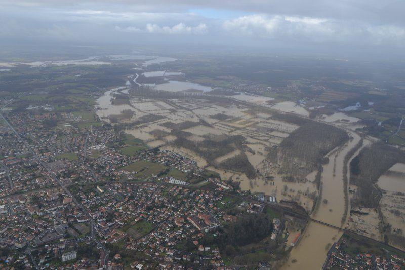 Crues : photo des inondations dans les Landes, vu du ciel - Gendarmerie nationale