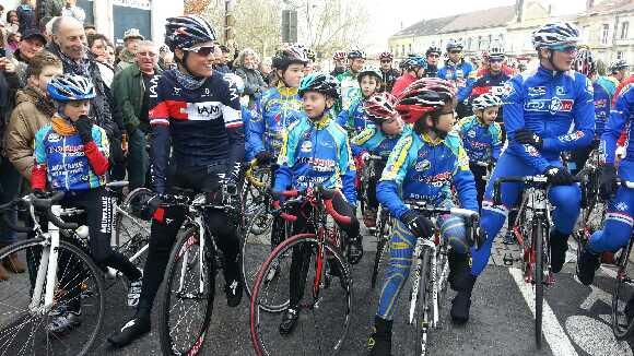 Sylvain Chavanel au départ de sa reconnaissance du Tour de France à Bergerac