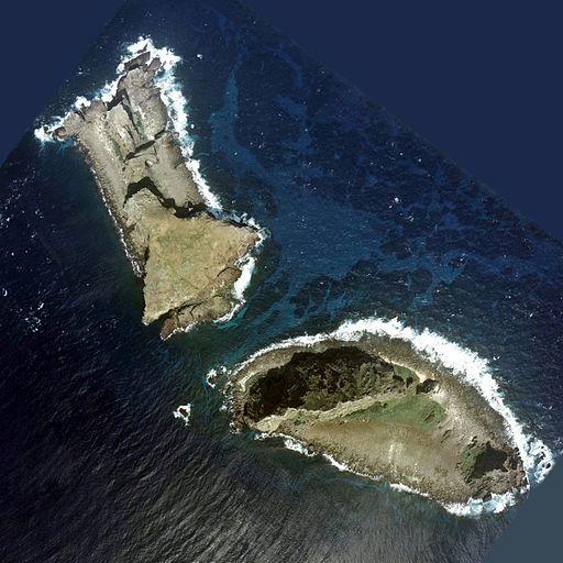 Photo aérienne de Kitakojima et Minamikojima, deux des îlots Senkaku