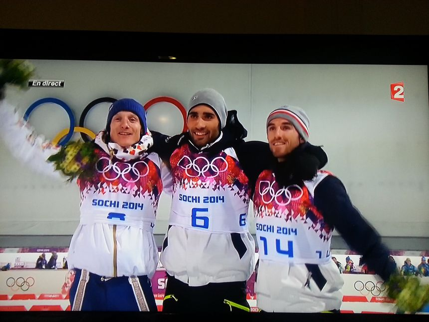 Martin Fourcade sur le podium olympique - capture d'écran france 2