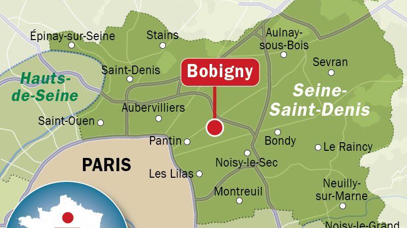 Carte de localisation de Bobigny (Seine Saint-Denis)