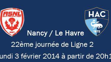 Football : le match Nancy / Le Havre diffusé en direct sur France Bleu Haute-Normandie lundi 3 février