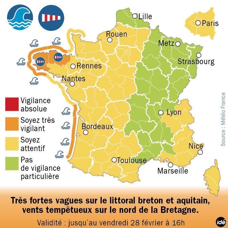 Le littoral aquitain et de la Charente-Maritime en alerte orange jusqu'à ce samedi 1er mars. - IDÉ