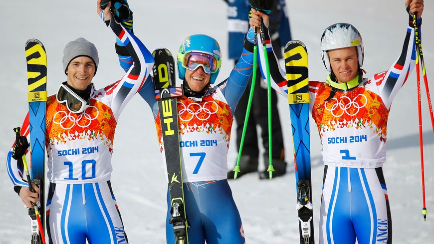 Le podium du slalom géant : Steve Missillier, Ted Ligety et Alexis Pinturault
