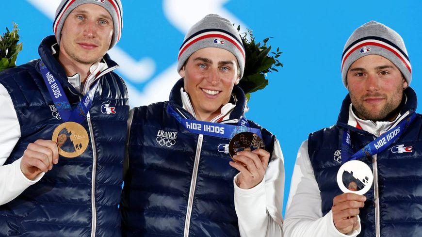 Les Français Arnaud Bovolenta, Jean-Frederic Chapuis et Jonathan Midol ont signé un triplé historique en skicross
