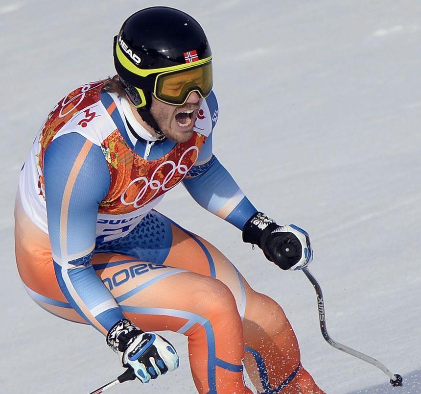 Le Norvégien, Kjetil Jansrud, champion olympique du super-G, à Sochi. - Maxppp