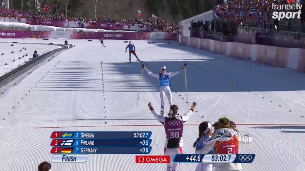 Sotchi : l'arrivée du relais 4 x 5 km féminin ski de fond avec Aurore Jean, Célia Aymonier, Anouk Faivre Picon et Coraline Hugue
