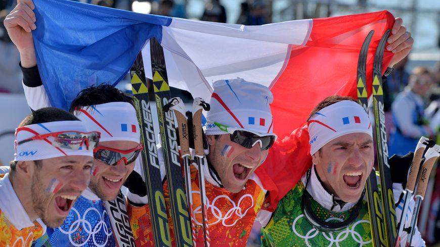 Robin Duvillard, Ivan Perrillat Boiteux, Jean-Marc Gaillard et Maurice Manificat en bronze au relais de ski de fond