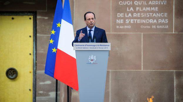 Frnaçois Hollande lors de la cérémonie d'hommage à la Résistance au mont Valérien