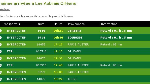 Les retards vers 17h au tableau d'affichage de la gare de Fleury-les-Aubrais.
