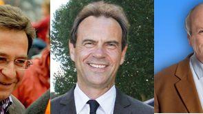 Les candidats du second tour à Evreux : de gche à dte, Michel Champredon, Guy Lefrand, Emmanuel Camoin.