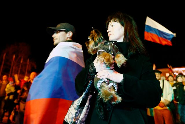 Manifestation pro russe à Simferopol