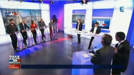 Le débat des candidats à la mairie de Caen (capture d'écran).