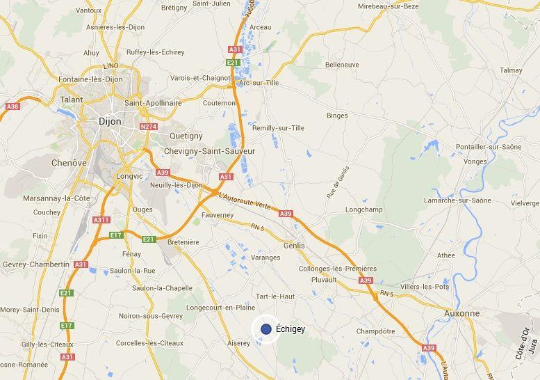 Échigey est situé à 28 km de Dijon et comptait 283 habitants en 2011. - Google Maps