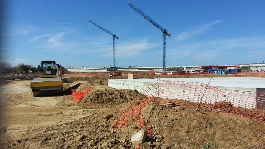 Le chantier de la future caserne des pompiers, au sud de Perpignan.