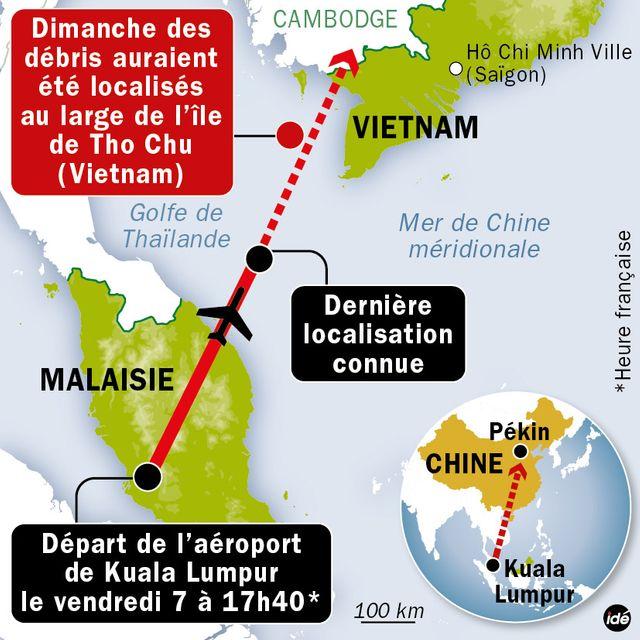Disparition du Boeing 777 de Malaysia Airlines : repères géographiques