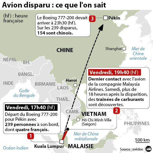 Avion disparu entre la Chine et la Malaysie : ce que l'on sait
