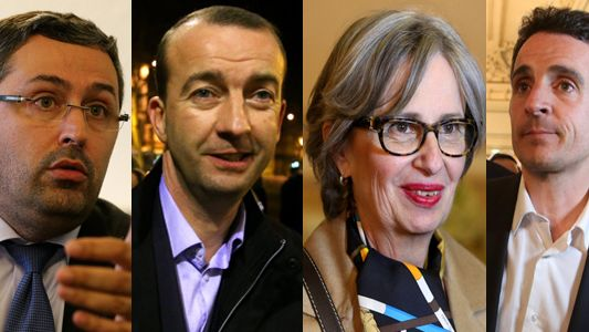 Les candidats de gauche à droite : Jérôme Safar, Matthieu Chamussy (UMP-UDI), Mireille d'Ornano (FN) et Eric Piolle (EELV, PG)