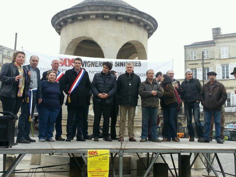 Les élus du Libournais ont rejoint la manifestation des viticulteurs à l'appel de SOS Vignerons Sinistrés. - Radio France
