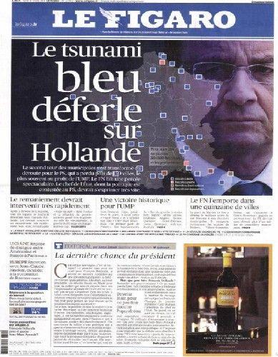 """Le """"tsunami bleu"""" fait la première page du Figaro, lundi 31 mars - capture d'écran - Radio France"""