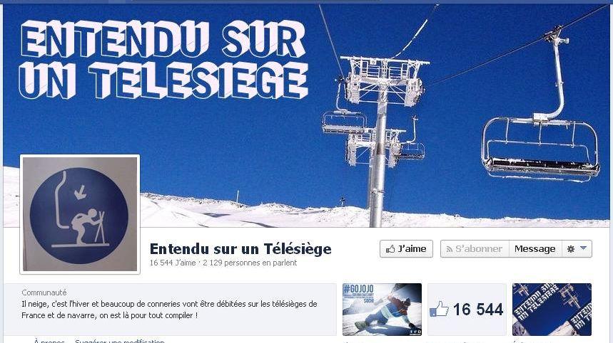 """La page Facebook """"Entendu sur un télésiège"""" (capture d'écran)"""